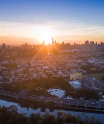 Melbourne city sunset