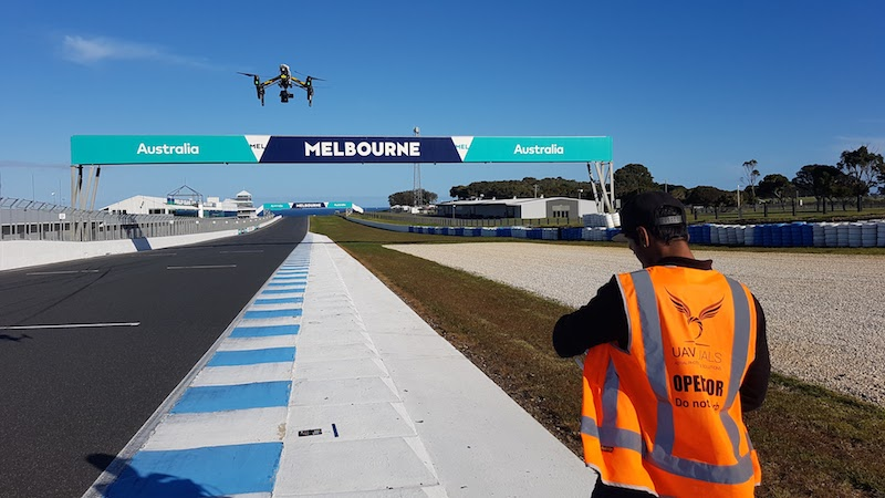 UAVisuals drone mapping racetrack for MotoGP