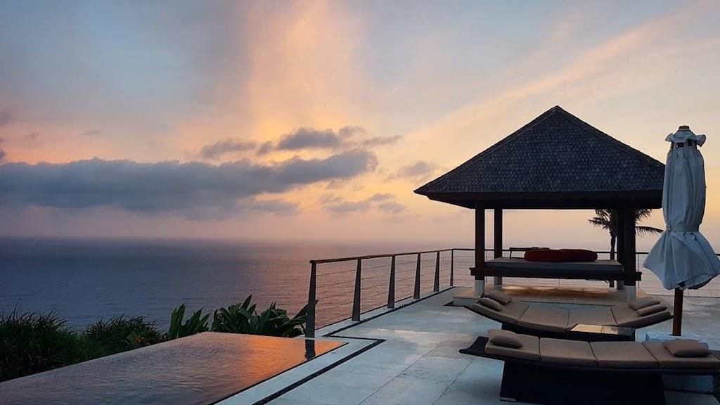 The villa at sunset at The Edge, Bali