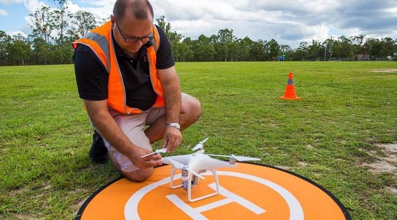 dji phantom drone on helipad